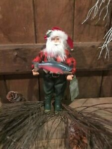 Santa Fishing Cabin 9 Inches Tall Handcrafted Primitive Cottage