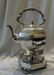 Antique Vintage Victorian Silver Plated Teapot Kettle With Burner And Stand