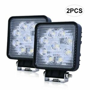 Pair Of 4 Square Led Fog Flood Lights 54w Offroad Boat Tow Truck Work Light