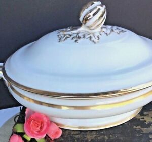 Antique French Paris Porcelain Tureen Dish