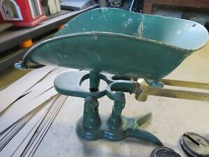 Antique Original Painted Green Fairbanks Scale W Weights Perfect For Use Orshow