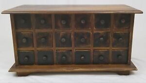 Apothecary Spice Cabinet 18 Drawer Wooden Chest Primitive Rustic Vintage