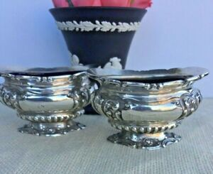 Pair Of Antique English Sterling Silver Salt Cellars Dish