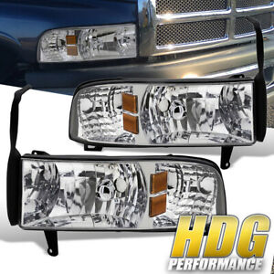 For 94 01 Dodge Ram 1500 2500 3500 1pc Style Headlights Lamps Chrome Amber Set