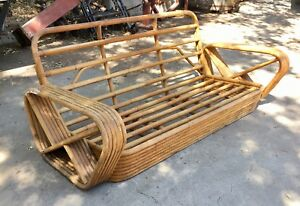 Vintage 1930 1940 1950 6 Strand Rattan Sofa Mid Century Modern Couch Paul Frankl