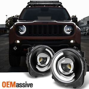Fit New Design black 15 16 17 18 Jeep Renegade C shape Led Projector Headlight