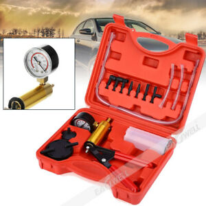 Brake Fluid Bleeder Hand Held Vacuum Pistol Pump Tester Kit Adapters W Case