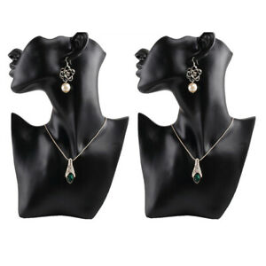 2 Pcs Necklace Pendant Bust Jewelry Display Resin Material Female Mannequin