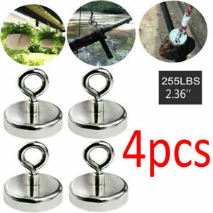 4x Fishing Magnet 255lb Super Strong Neodymium Round Thick Eyebolt Treasure Us