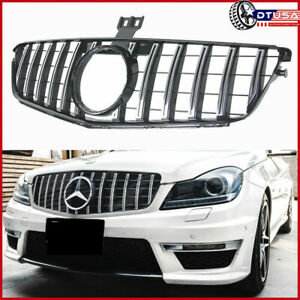 Chrom Gt Vertical Front Grill Grille For Mercedes Benz W204 S204 C300 C350 07 14