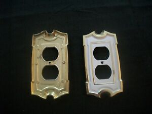 Vtg American Tack Hardware Sa Brass White Double Gang Outlet Cover