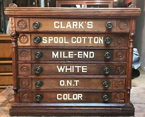 Antique Country Store Display Clark S Six Drawer Spool Cabinet Bird