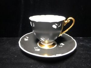 Vintage Shelley Black And White Teacup And Saucer Tea Cup Gold Accents