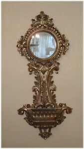 Vintage Antique Italian Carved Wood Silver Leaf Mirror