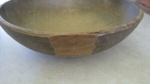 Antique Wooden Large Deep Bowl Correctly Out Of Round Shaved Sides
