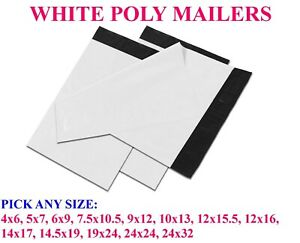 Any Size White Poly Mailers Bags Shipping Mailing Self Sealing Envelopes 2 5 Mil