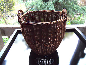 Early Antique Hand Woven Gathering Primitive Basket 9 X9 X6 Old Farm House Find