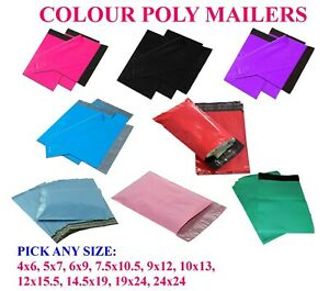 Any Size Colour Poly Mailers Bags Shipping Mailing Self Sealing Envelopes 2 5mil