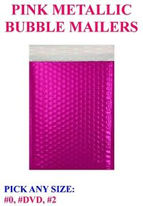 Rose Pink Metallic Bubble Mailers Padded Shipping Envelopes Bags Seal Foil