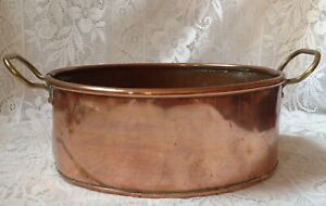 Antique Copper Planter Riveted Brass Handles Soldered Seems 1