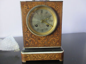 19 Century Rosewood Inlaid Mantel Clock Working Height 20 Cm Width 13 4cm