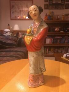 Vintage Antique Chinese Export Porcelain Woman Figurine Impressed China Mark 7