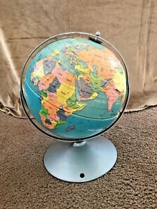 Vintage Nystrom Readiness Raised Relief 12 World Globe Metal Base