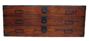 Antique Japanese Rare Katana Tansu Sword Chest For Samurai
