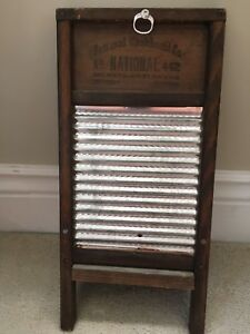 Vintage National Washboard Co No 442 Wood Tin With Clothes Pin Holder Pins
