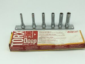New Snap On Tools 6 Piece 1 4 Drive Deep Torx Socket Set 106stleyhol