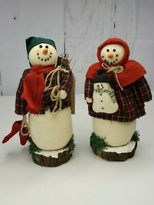 Country Plaid Snowmen Couple With Baby On Wood Base Collecting Fire Wood