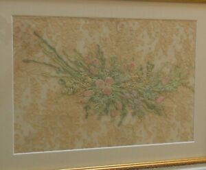 Antique Lovely Silk Ribbon Flowers Hand Embroidery On Alencon Lace Framed