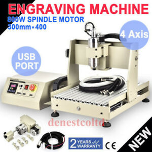 Usb 4 Axis 3040 Cnc Router Engraver 800w Vfd Cutting Carving Machine controller