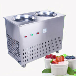 Double Pan Fried Ice Cream Machine Stir Yogurt Machine Ice Cream Roll Maker 220v