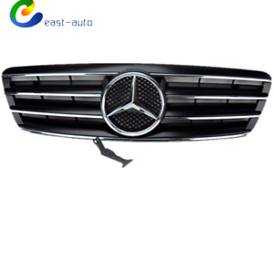 4 Fence Front Hood Sport Black Grill Grille For Mercedes C Class W203 01 07