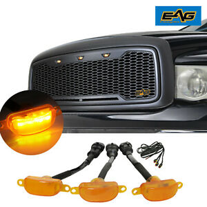Eag Main Upper Grille Led Grill Replacement Fit 02 05 Dodge Ram 1500 2500 3500