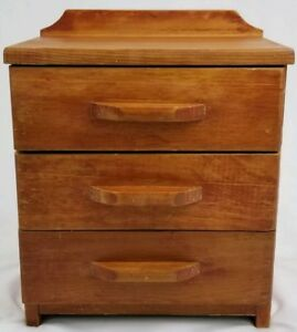 Salesman Sample Dresser Jewelry Box Oak Wood Mid Century 14 1 2 Vintage