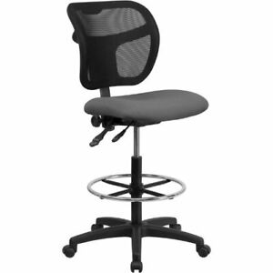 Mid back Mesh Drafting Chair With Gray Fabric Seat Flawla7671syggydgg