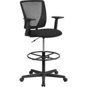 Ergonomic Mid back Mesh Drafting Chair With Black Fabric Seat Adjustable Foot