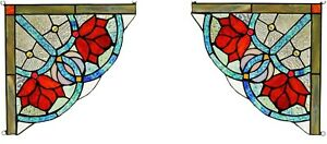 Set Of 2 8 X 8 Victorian Rose Tiffany Style Stained Glass Corner Window Decor