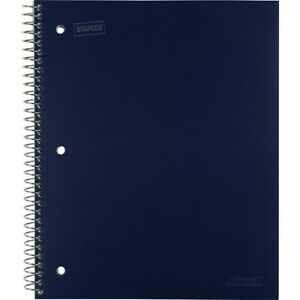 Staples Accel Durable Poly Cover Notebook College Ruled Blue 8 1 2 x11 12 Pk