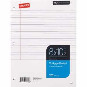 Staples College Ruled Filler Paper 8 X 10 1 2 120 Sheets 36 Pack 2072868