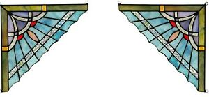 Set Of 2 8 X 8 Blue Mission Tiffany Style Stained Glass Corner Window Decor