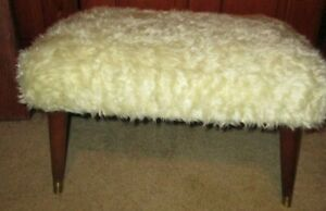 Vintage Mid Century Modern Beige Fake Fur Foot Stool Ottoman Chair Mcm Eames Era