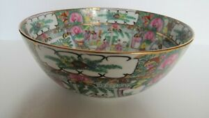 Vintage Chinese Export Hand Painted Rose Medallion Bowl Figural Scenes Gilt 9