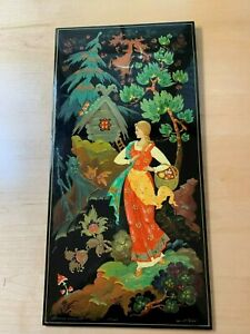 Signed 8 5 8 X 16 1 2 Russian Folk Tale Painting On Lacquered Board For Wall