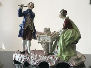 Large Antique Capodimonte Porcelain Figurine The Musician Couple