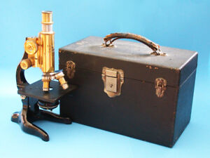 Vintage Leitz Wetzlar Brass Microscope With Case
