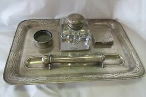 Antique Tiffany Co Sterling Silver Desk Set Ink Well Stamps 16038 Makers 495