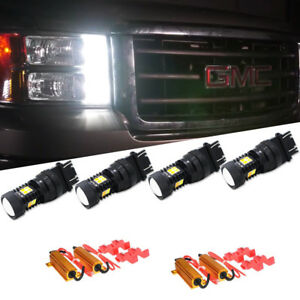 4pcs Switchback Fits 2000 2014 Gmc Sierra 1500 Dual color Led Turn Signal Lights